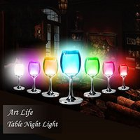 acrylic wine cups - Indoor Acrylic Warm White RGB Colorful LED Desk Table Light Reading Lamp with Wine Cup Shape Home Bar Christmas Birthday Gift Night Light