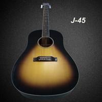 Wholesale Honey sunburst color J45 acoustic guitar Spruce solid top sapele back and side