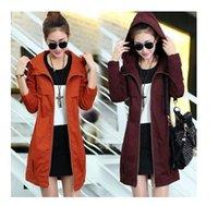 Wholesale 2016 new fashion autumn women s trench coat with a hood warm cotton spliced big size windbreaker female XXXL outerwear plus size colors