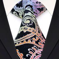 Wholesale Classy F7 Multicolor Black Paisley Floral Men s Ties Neckties Silk Jacquard Woven