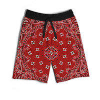 Wholesale Real USA size Red Bandana Print D Sublimation print custom made men fifth seventh legnth shorts with string Plus Size
