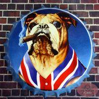 antique dog art - EngLand UK Flag Smoking Dog Round Tin signs Beer Bottle Cap Art Poster Restaurant Lounge Bar Home Wall Decor cm RM