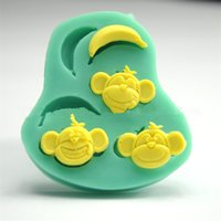 banana cakes - silicone D cake moulds Lovely Monkey Banana fondant mold candy chocolate sugar craft moules bakeware decorating molde