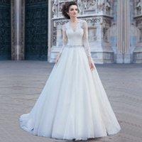 Wholesale Simple Vestidos De Noiva Estilo Princesa Lace Long Sleeve Wedding Dresses Sashes Ball Gown Robe De Mariee