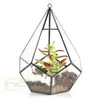 artistic desktop - Modern Artistic Clear Glass Geometric Terrarium Five surfaces Diamond Succulent Fern Moss Terrarium with Loop Hanging flowerpots