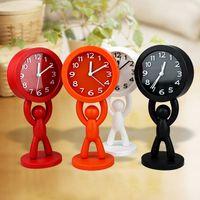 antique portable desk - White Black Orange Red Buddy Desk Clock Removable Solid Color Mini Portable Clock Needle Originality Alarm Clock