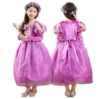 Acheter Dentelle en couches robe tutu enfants-Prettybaby filles princesse robes de fête 5 couches de cosplay costume enfants enfants Tangled Rapunzel luxueuse dentelle tutu robe cadeau de bébé Pt0361 #