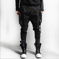 big black pencil - black white Big pockets quality zipper cargo baggy mens hip hop streetwear jogger pants harem sweatpants trousers pencil jogging