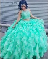 Wholesale 2016 Two Pieces Mint Green Princess Quinceanera Dresses Sweet Dresses Sweet Ball Gowns Vestidos Debutantes Anos