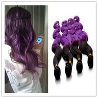 Cheap Hot In Stock 7A 3pcs ombre purple brazilian hair 100% ombre cheap human hair weaving two tone ombre body wave hair bundles