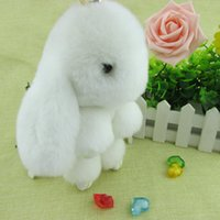 Wholesale Rabbit Fur keychain Cute Rabbit Doll Key Chain Pendant Wallet Pom Pom Car Pendant