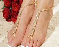 Wholesale Lady s Anklet hot selling NEW Barefoot Beach Sandals Bridal Wedding Diamante Crystal Anklet Foot Jewelry in gold and rhodium