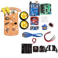 al por mayor coche robot de evitación-Nuevo seguimiento de evitación Motor Smart Robot Kit de chasis de coche Encoder de velocidad Caja de batería 2WD Módulo ultrasónico Para kit Arduino