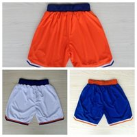 Wholesale New York Basketball Shorts New York Carmelo Anthony White Orange Rev Basketball Shorts Size S XXL