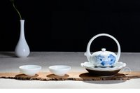 Wholesale Hand painted white porcelain tea pot Cup two portable travel gift set of Kung Fu Tea Set