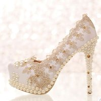 bead injection - New Arrival Fashion Princess Nightclub Sweety Pearl Beads Diamond Champagne Lace Banquet Toast Marriage Noble Heel Shoes EU34