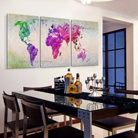 Cheap Hand Painted Group of Oil Painting Hang Wall Paintings Modern Abstract Colorful World Map Paintings Landscape Canvas Painting