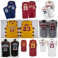 lebron james jersey - High Quality Jersey Mens Cleveland LeBron James Black Blue Yellow Red retro jersey