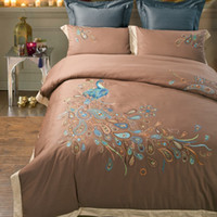 Wholesale 2016 New S Satin Embroidery Peacock Bedding Sets Bedding Sets American Wedding Home Textiles Queen King Size Express Delivery