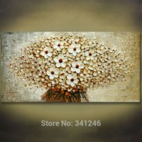 Cheap Hand-painted modern home decoration wall art picture bunch of beige flowers thick paint palette knife oil painting on canvas