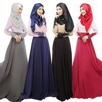 Wholesale 2016 Dubai Traditional Women Dress Muslim Arabic Turkish robe Islamic Clothing Long Sleeve Wrap Dress Lace Patchwork Latest Abaya