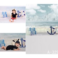 beaches background - Digital Printing Photo Backdrops Customize Beach Waves Clouds Canoe Backdrop Photography Baby Backgrounds Studio Backgrounds