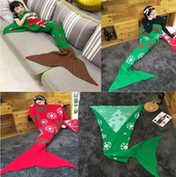 Wholesale Kids Mermaid Blankets cm Knitted Mermaid Tail Blankets Kids Christmas Blanket Cartoon Kids Blankets Christmas Gifts