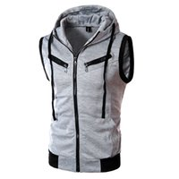 Wholesale Fall Autumn Casual Hooded Vest Men High Quality Cotton padded Waistcoat Sleeveless Casual Jacket Outdoor Sport Vest