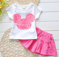 Wholesale 2016 Infant clothes toddler children summer baby girls clothing sets cartoon Minnie mourse clothes sets girls summer set