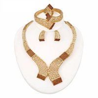 Wholesale Western Africa Brown Diamond K High Gold Plated Jewelry Sets Necklace Braceletes Earing Ring Hot Sale Fahion Jewelry Sets For Women QW25