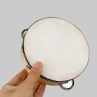 Wholesale inch Musical Tambourine Drum Round Percussion for KTV Party sheepskin drumhead wooden ring and stainless steel wipes