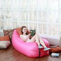 Wholesale 260 cm Fast Inflatable Camping Sofa banana Sleeping Bag Hangout Nylon lazy lay laybag Air Bed chair Couch Lounger Saco de dormir