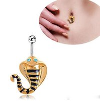 Wholesale Body Jewelry Piercing L Surgical Steel Enamel Blue Crystal Gold Plated Cobra Snake Navel Belly Button Rings