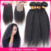 Cheap New Arrival Virgin Brazilian Kinky Straight Hair With Silk Base lace Closure 4Pcs Lot Coarse Yaki Silk Base Lace Closure With Hair Bundles