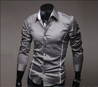 Wholesale M XXXL Men Shirt Mens Long Sleeve T Shirt Warm cotton sleeved shirts Round Neck Mens Apparel Clothing man Single breasted long sleeve