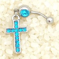 Wholesale 2016 High Quality Cross Medical Steel Crystal Belly Button Ring Dangle Navel Body Jewelry Piercings Tassel