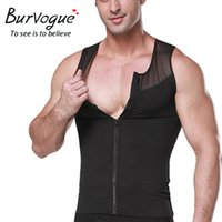 Wholesale Burvogue the mower cutting the waist waist Tummy Control mower zipper and hook of Men sport undergarment of cutting two layers