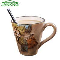 Wholesale JANKNG mL Kawaii Ceramic Coffee Mugs Cup Hand Painted Lovely Flower Coffee Travel Mug Milk Tea Cup Elegance Mug Girl Gift