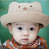 baby panama hat - Hot Kids Hat With Fashion Straw Hats Summer Baby Ear Decoration Lovely Child Character Girls And Boys Sun Hat Solid Children Floppy Panama