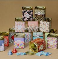 Wholesale NEW Vintage style useful portable tea case tea tins storage boxes lids iron box mini storage container