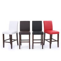 bar stool pads - IKAYAA Set Modern Faux Leather Bar Pub Dining Chairs High Back Wood Frame Padded Kitchen Side Parson Chairs stools US STOCK H16759
