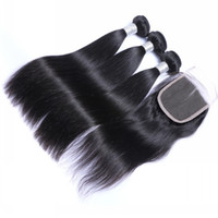 Wholesale Unprocessed Virgin Human Hair Pieces Brazilian indin Peruvian straight Hair with Free Lace Closure No tangle no shedding A Quality
