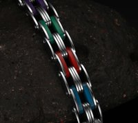 bicycle plate - colorful silicone Bike Bicycle Chain Men s titanium steel Bracelets for men