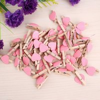 Wholesale Mini Love Heart Wooden Clothespin Pinza de madera Clothespin bois Craft Clips DIY Clothes Photo Paper Peg Clothespin OH