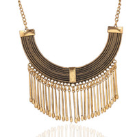 antique jewelry sale - hot sale Fashion Europe exaggerated statement necklace fashion jewelry short bi metallic tassel necklace antique color chokers necklace