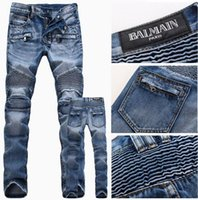 achat en gros de pantalon denim gros-NOUVELLE ARRIVÉE 2016 HIP HOP biker jeans denim cargo plissé slim maigre pantalon vente au détail gros bleu hommes long Moto pantalon bal main