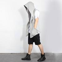 Wholesale Fall Male summer open cardigan sleeveless vest hooded cloak jacket wizard waistcoat