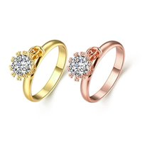 Wholesale 2016 Fashion Jewelry Rings With Side Stones Gold Plated Enamel Flower Engagement Rings Size for Women