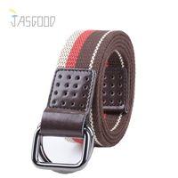 Wholesale Brand New JASGOOD Stripe Men Belts Casual Canvas Waistbands D Ring Alloy Cummerbund Inch Wide Classic Men Belts