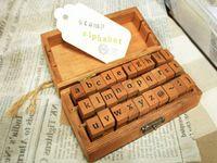 Wholesale Wholeslae set Creative Lowercase Uppercase Alphabet wood rubber stamps set Wooden box